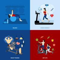 Gens d'entraînement de gym vecteur
