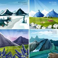 Ensemble de paysages de montagne vecteur