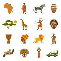 Afrique Icons Set vecteur