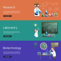 Bannières de recherche scientifique vecteur