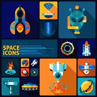 Ensemble plat d'icônes de l'espace