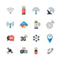 Ensemble d'icônes plat de technologie sans fil