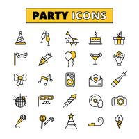Jeu d'icônes oitlined parti pictogrammes vecteur