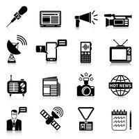 Ensemble d'icônes noir blanc et médias