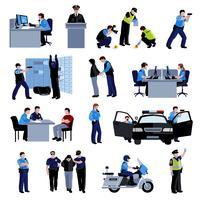 Policier personnes icônes de couleur plate