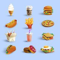 jeu de dessin animé icônes fastfood vecteur
