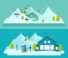 Ensemble de bannière de station de ski vecteur
