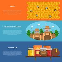 Ensemble de bannières au miel vecteur