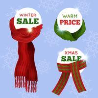 Carte de vente écharpe tricotée vecteur