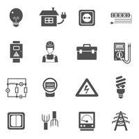 Électricité noir blanc Icons Set vecteur