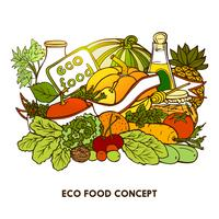 Concept d'aliments écologiques dessinés à la main vecteur