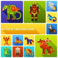 Jeu d'icônes de créatures mythiques vecteur