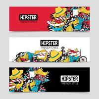 Ensemble de bannières horizontales interactives Hipster 3 vecteur