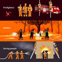 Jeu de bannières horizontales de pompier
