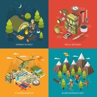 Concept de design de randonnée et de camping vecteur