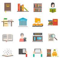 Jeu d'icônes de bibliothèque vecteur