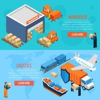 Bannières de logistique d'entrepôt isométrique vecteur