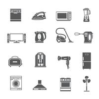 Ensemble d'icônes noir appareils ménagers vecteur