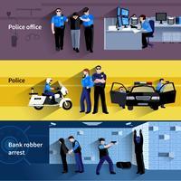 Bannières horizontales de policier