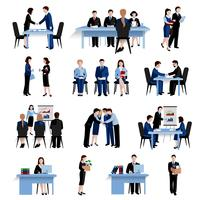 Ensemble d'icônes plat concept ressources humaines