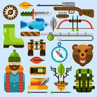 Chasse et pêche Icons Set vecteur