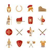 jeu d'icônes de gladiateur vecteur