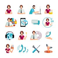 Ensemble d'icônes plat service de support clientèle