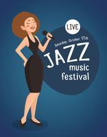 Illustration de chanteuse de jazz femme vecteur
