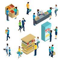Gens isométriques Shopping vecteur