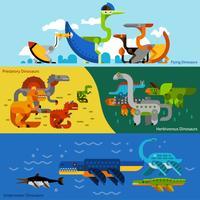 Jeu de bannières de dinosaures vecteur