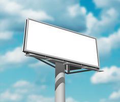Panneau d'affichage contre l'image de fond du ciel vecteur