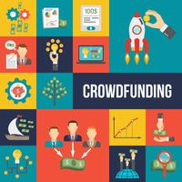 Ensemble plat de crowdfunding vecteur