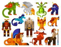 Icônes de créatures mythiques vecteur