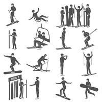 Collection d'icônes de la station de ski noire