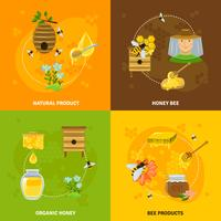 Miel et abeilles Icons Set vecteur