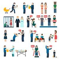 Trafic humain plat Icons Set