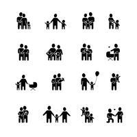 Famille noir blanc Icons Set vecteur