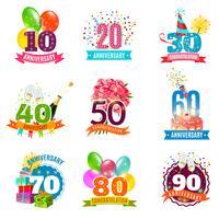 Anniversaires anniversaires emblèmes icônes définies vecteur