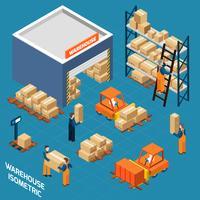 Concept d'icônes isométrique d'entrepôt