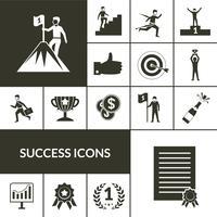 Ensemble d'icônes de succès noir vecteur