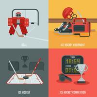 Ensemble d'icônes de hockey vecteur