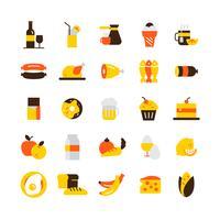 Jeu d'icônes de nourriture vecteur