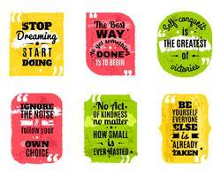 Jeu d'icônes texturées colorées de citations célèbres vecteur