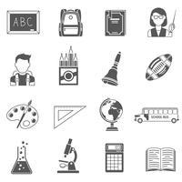 ensemble d'icônes de l'éducation noir vecteur