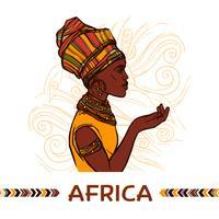Portrait de femme africaine vecteur