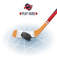 Bâton de hockey et rondelle vecteur