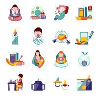Icônes d'alimentation de bébé vecteur