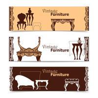 Bannières horizontales dessinées à la main de meubles vintage