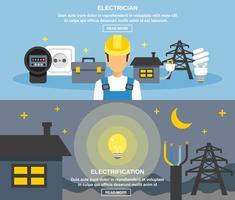 Ensemble de bannières électriques et électriques vecteur