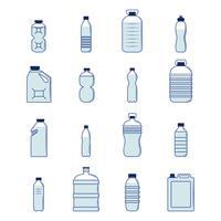 Set de bouteilles en plastique vecteur
